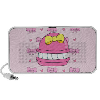 Cute kawaii macaroon pink bow yellow speaker system