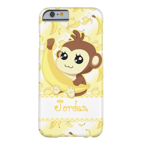 Cute Kawaii monkey holding banana Barely There iPhone