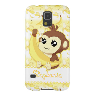 Cute Kawaii monkey holding banana Galaxy S5 Case