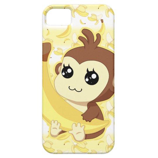 Cute Kawaii monkey holding banana iPhone 5 Cases