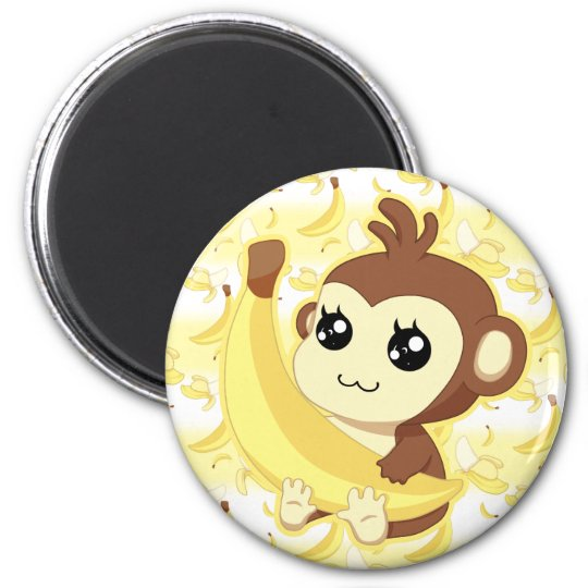 Cute Kawaii monkey holding banana Magnet