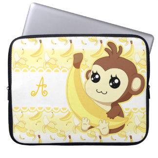 Cute Kawaii monkey holding banana monogram Laptop Sleeve