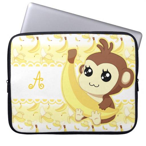 Cute Kawaii monkey holding banana monogram Laptop Computer Sleeves
