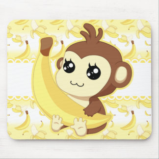 Cute Kawaii monkey holding banana Mouse Pad