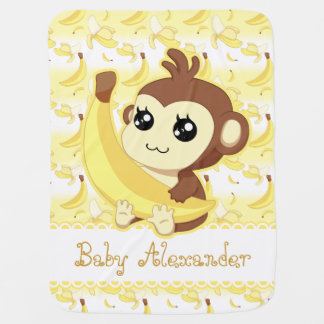 Cute Kawaii monkey holding banana Pram blanket
