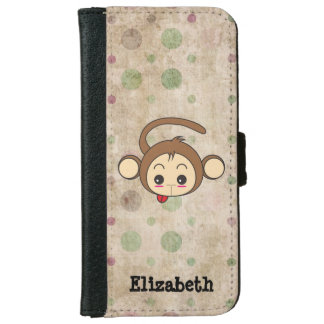 Cute Kawaii Monkey Illustration iPhone 6 Wallet Case