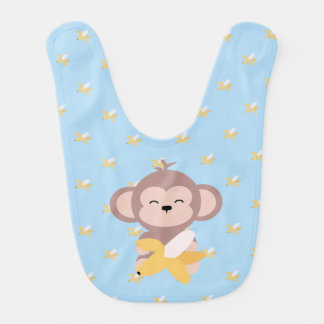 Cute Kawaii Monkey with Banana Baby Bib