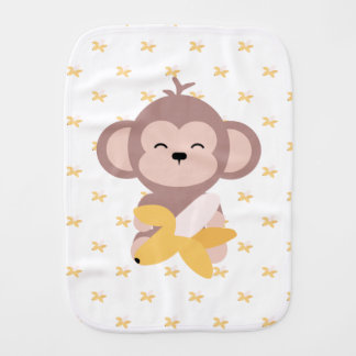 Cute Kawaii Monkey with Banana Baby Burp Cloth