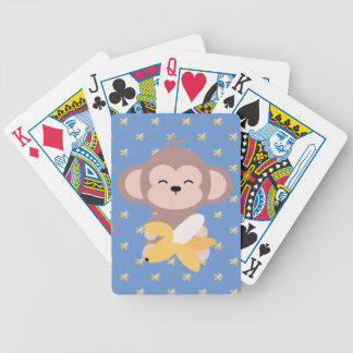 Cute Kawaii Monkey with Banana Playing Cards