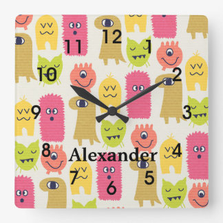 Cute Kawaii Monsters Nursery Wall Clock