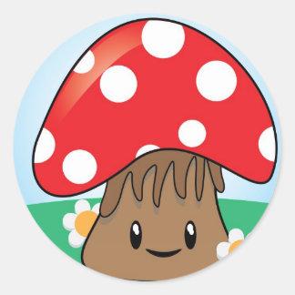 Cute Kawaii Mushroom Classic Round Sticker