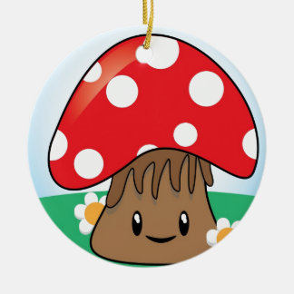 Cute Kawaii Mushroom Round Ceramic Decoration