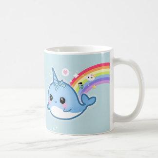 Cute kawaii narwhal with rainbow and sparkle stars coffee mugs