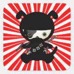 Cute Kawaii Ninja Puppy Dog on Red Stickers