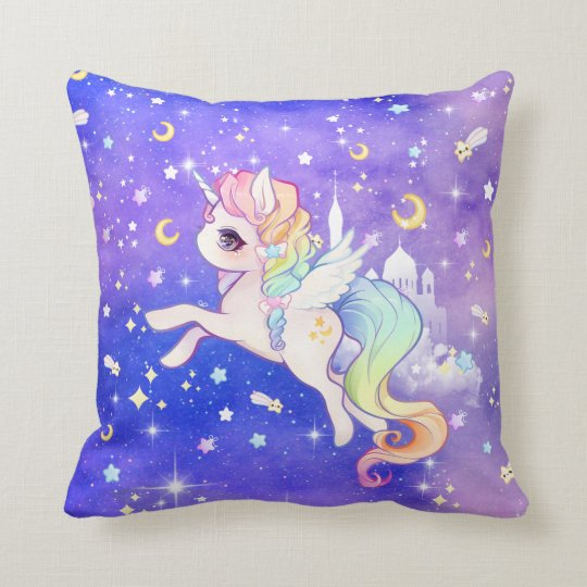 Cute kawaii pastel unicorn with moons and stars