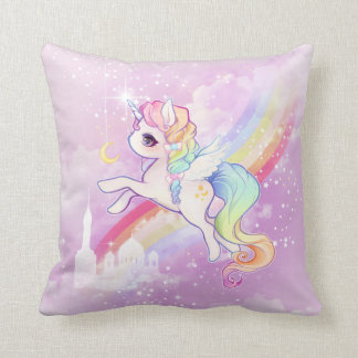 Cute kawaii pastel unicorn with rainbow and castle cushion