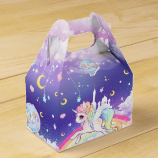 Cute kawaii pastel unicorn with rainbow galaxy wedding favour box