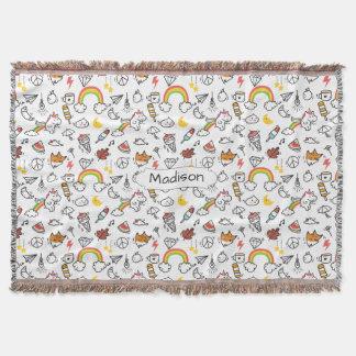 Cute Kawaii Pattern custom name throw blanket
