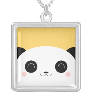 Cute Kawaii Peekaboo Panda Face Square Pendant Necklace