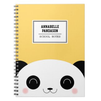 Cute Kawaii Peekaboo Panda Face Personalised Notebooks
