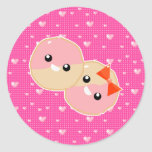 Cute Kawaii Pink Frosted Cookies Classic Round Sticker