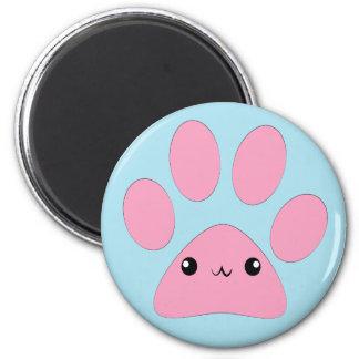 Cute kawaii pink kitty pawprint face magnet