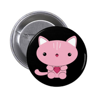 Cute kawaii Pink Kitty with Heart Button
