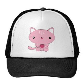 Cute kawaii Pink Kitty with Heart Trucker Hat