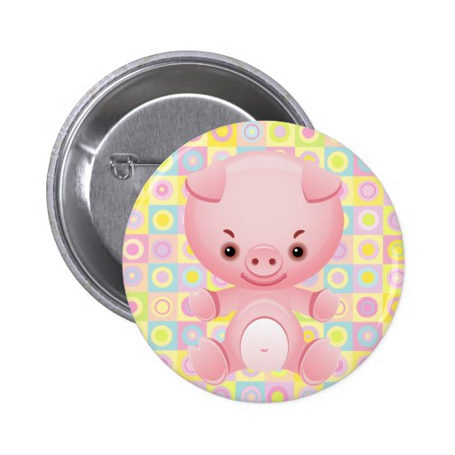 Cute Kawaii pink pig pattern buttons