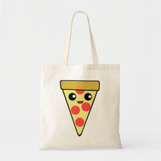 Cute Kawaii Pizza Character Tote Bag