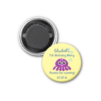 Cute Kawaii Purple Jellyfish Birthday Thank You 3 Cm Round Magnet