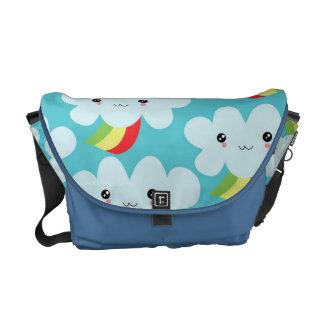 cute kawaii rainbow clouds cartoon pattern messenger bags