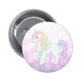Cute kawaii rainbow colored unicorn pony 6 cm round badge