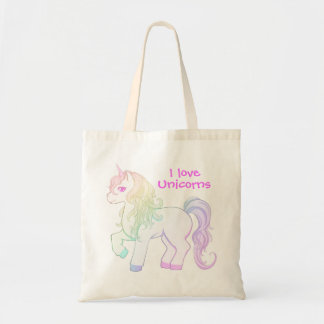 Cute kawaii rainbow colored unicorn pony tote bag