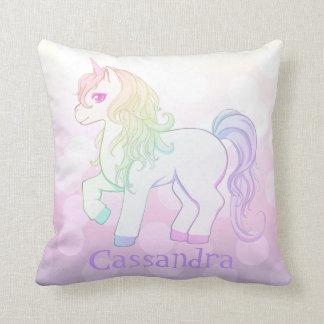 Cute kawaii rainbow colored unicorn pony with name cushion