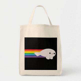 Cute Kawaii Rainbow Rocket Baby Seal Grocery Tote