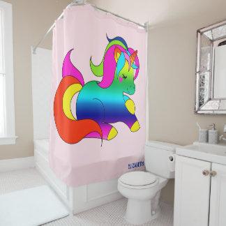Cute Kawaii Rainbow Unicorn Cartoon Style Shower Curtain
