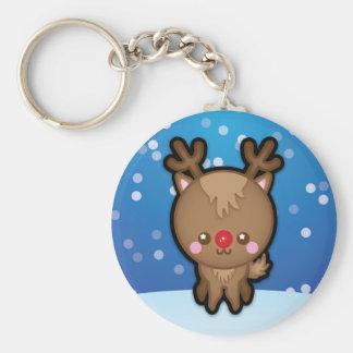 Cute Kawaii Red Nosed Reindeer Christmas Keyring