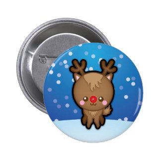 Cute Kawaii Red Nosed Reindeer Christmas Pin Badge