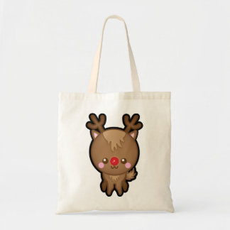 Cute Kawaii Red Nosed Reindeer Christmas Tote Bag
