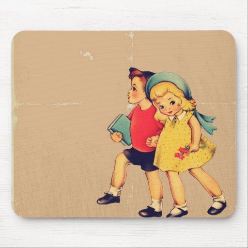 Cute kawaii retro pattern vintage kids mouse pad