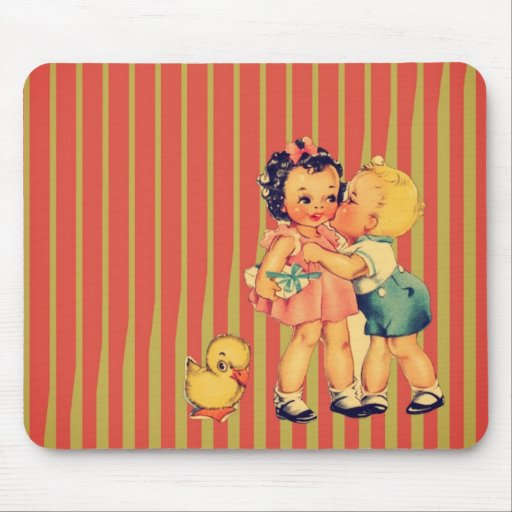 Cute kawaii retro pattern vintage kids mousepads