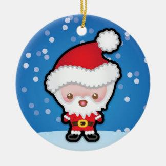 Cute Kawaii Santa Claus Christmas Tree Decoration Round Ceramic Decoration