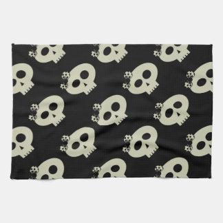 Cute Kawaii Skulls Black Kitchen Towel