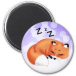 Cute Kawaii Sleeping cartoon fox 6 Cm Round Magnet