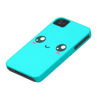Cute Kawaii Smiley - blue - customizable color iPhone 4 Cover