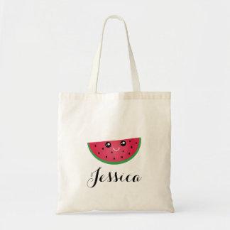 Cute Kawaii Smiling Watermelon Manga Cartoon Emoji Tote Bag