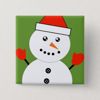 Cute Kawaii Snowman 15 Cm Square Badge