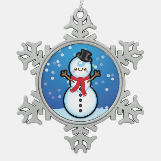 Cute Kawaii Snowman Christmas Tree Decoration Pewter Snowflake Decoration