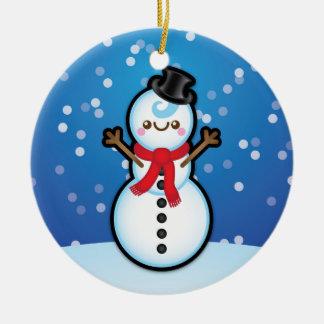 Cute Kawaii Snowman Christmas Tree Decoration Round Ceramic Decoration